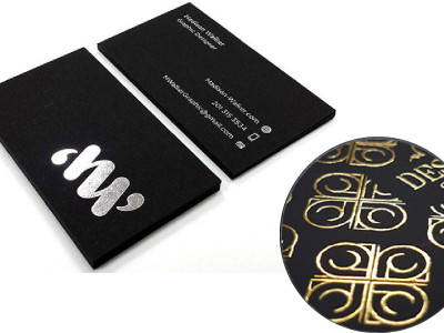 FOIL CARDS. Metallic foil business cards are notable for their shiny, unique finish. The unique property of foil allows for some incredible looking de