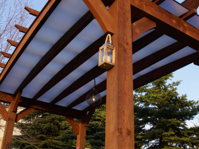 Timberlite Pergola - Close up of the Acrylite Acrylic