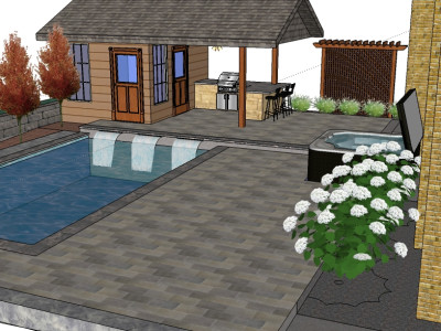 3D render of backyard with pool house, water feature, and kitchen