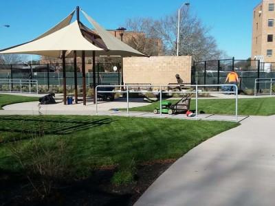 Rebuild at Brockton V.A. clinic - new lawn, planting and construction