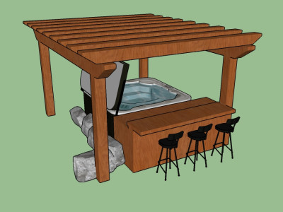 Hot tub, with a bar area incorporated under a fir pergola