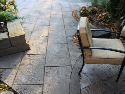Use large scale slabs in your landscape design as the lines create the perfect spacing for social distancing