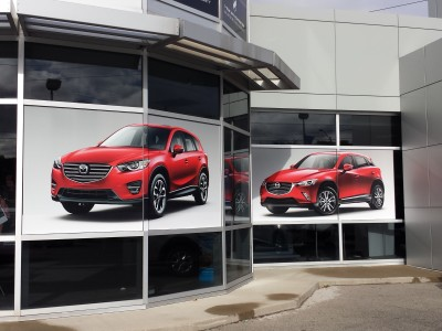Markham Mazda dealership windows.