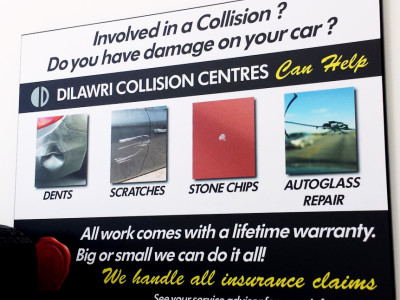 Collision centre plaques for dealer group.