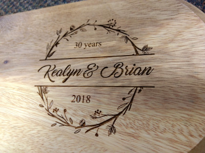 Anniversary gift, Laser engraved wooden cheeseboard.