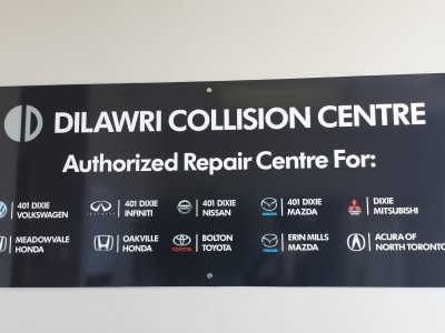 Collision centre reception sign, Mississauga, Ontario