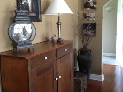 We used some of the home owner's existing pieces and added a few new ones to create this updated country look