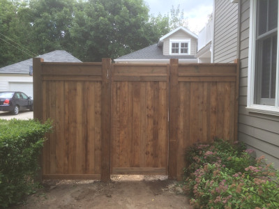 Pressure treated fence & gate featuring the I-beam top
