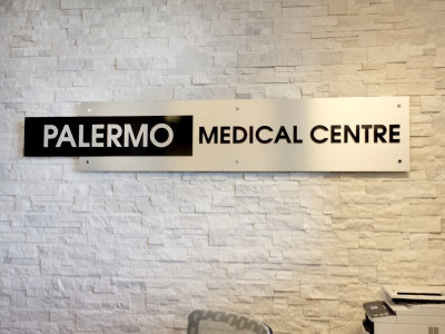 Aluminum composite cnc cut letters reception sign, Oakville, Ontario.
