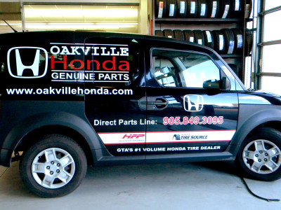 Honda Element dealership parts delivery vehicle graphics, Oakville, Ontario.