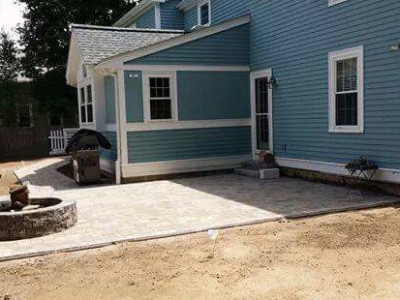 Completed - Firepit, patio, walkway, granite stairs and graded yard (Winchester, MA)