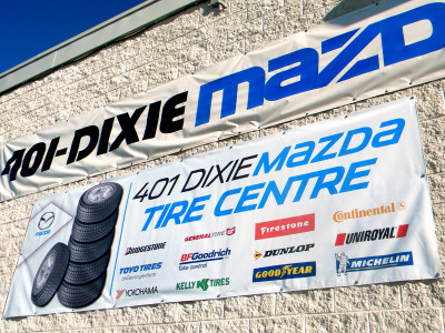 Tire banner for dealership.