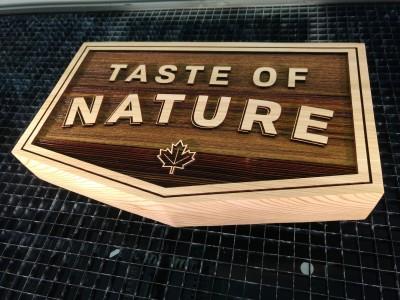 Laser engraved cedar sign for tradeshow.