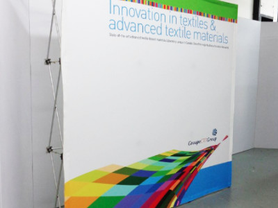 Pop up fabric display.