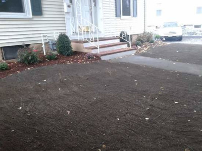 Before - Grading and sod (Winchester, MA)