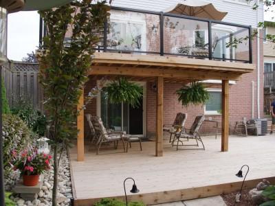 Cedar Deck with glass upper railing