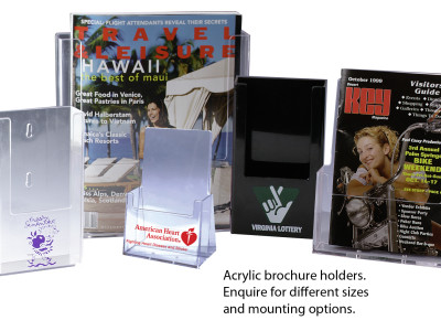 Acrylic brochure stands.