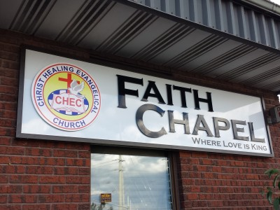 Laser cut Acrylic church sign with frame, Installed in Mississauga, Ontario.