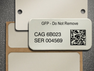 Laser marked metal tags.