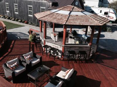 Cedar Gazebo, Outdoor Kitchen, Deck