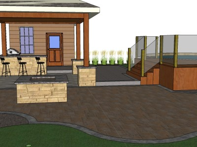 3D render of a cabana, pool, outdoor kitchen, and fire-pit