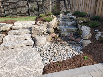 Pondless waterfall, with natural stone steps