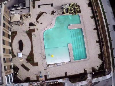 Overhead shot of Lifetime Fitness pool deck Ajax