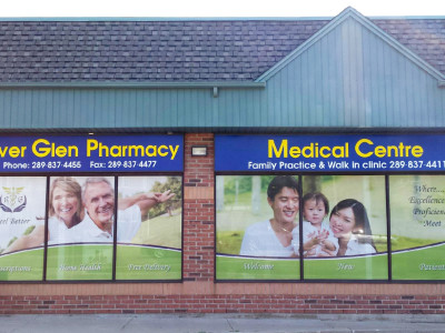 Pharmacy Window Graphics, Perforated Vinyl, Oakville, Ontario.