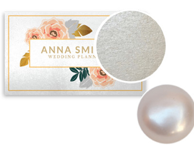 PEARLIZED CARDS. A unique stock that shimmers when seen at different angles, Pearl Paper business cards are ingrained with pearl fibers that give the