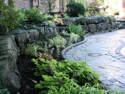 Tiered armourstone garden.
