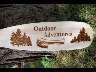 Personalized wooden paddle, laser engraved, Ontario Canada