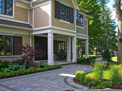 Beautiful mid-summer gardens at this Oakville entrance.