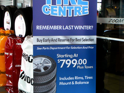 Retractable dealership banner.