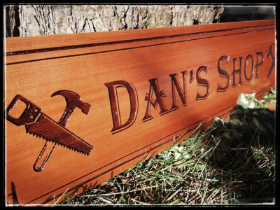 Personalized custom engraved wood shop sign, cedar  with clear varnish, Hamilton Ontario