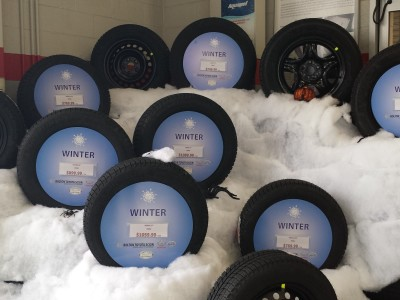 Showroom tire display, Bolton Ontario