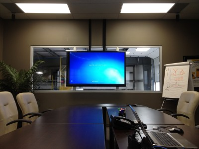 "Boardroom with a 70"" Sharp TV"