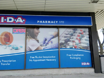 Perforated window vinyl for IDA pharmacy in Burlington Ontario.