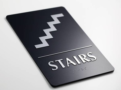 Braille stair sign.