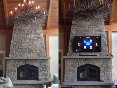"Stone fireplace with no previous cabling. Now wired and has a 70"" TV mounted."