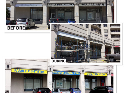 Before and after of fascia sign graphic vinyl change, Mississauga, Ontario