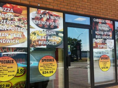 Pizza store window graphics.