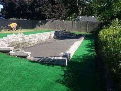 Completed - Boccie Court with indoor / outdoor carpet (Woburn, MA)
