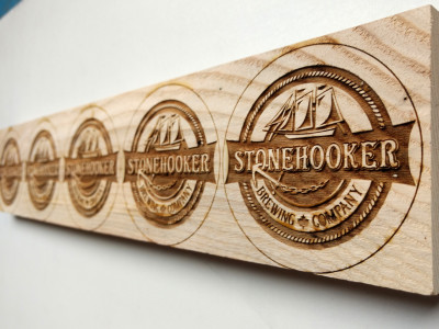 Laser engraved wood beer pull signs Stonehooker Ontaro Canada