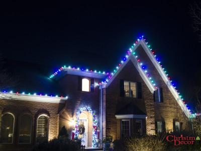 Custom Multi Roofline Holiday Lighting Display Enola