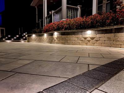 Hardscape, Annuals, & Lighting, Unilock pavers.