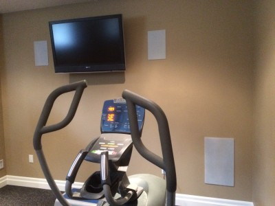 "6.5"" In-Wall Speakers and Dual 8"" In-Wall Subwoofer in a GYM Area"