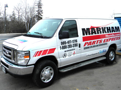 Car dealer delivery truck graphics, Markham, Ontario.