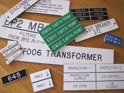 Engraved identification labels.