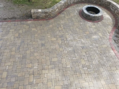 Completed - Patio, firepit and sitting wall