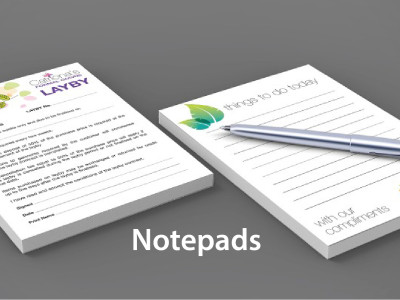Branded notepads with removable pages that can be used for writing notes. Includes a 14pt gloss backing. These notepads have 25 or 50 sheets each.